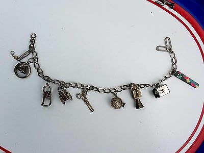 Vintage 1940's Sterling Silver Mostly Articulated 3D Mechanical Charms Bracelet