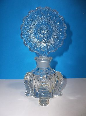 Vintage Art Deco Glass PERFUME BOTTLE Flower Stopper