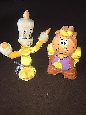 Disney Beauty And The Beast Genuine Lumiere And Cogsworth Soft Toys