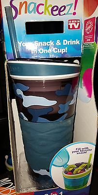Snackeez Limited Edition 2-in-1 Cup As Seen On TV camo 16oz, non slip grip