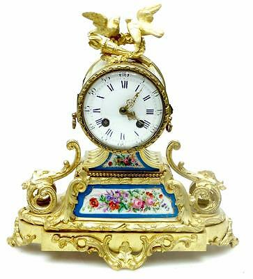 Rare Antique 8 Day French Ormolu Mantel Clock & Sevres Panels Solid Bronze Case