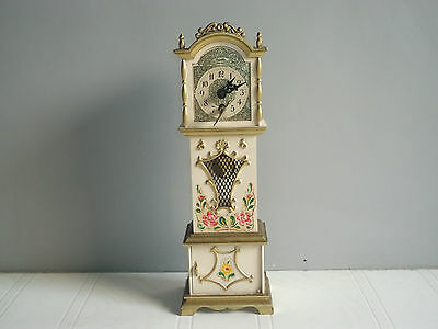 Old vintage wind-up miniature grandfather clock of 60's, made in west Germany...