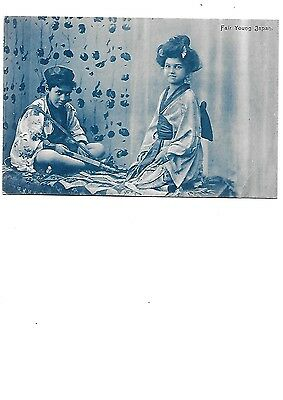 JAPAN Early Ethnic Postcard Japanese Boy Girl Children Fair Young Japan