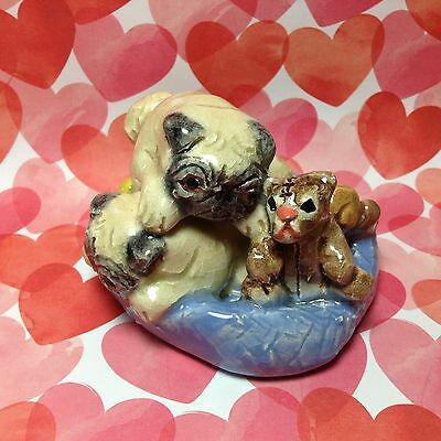 Two Pugs with Toys on Dog Bed Ceramic Figurine Handmade Sculpture Statue OOAK