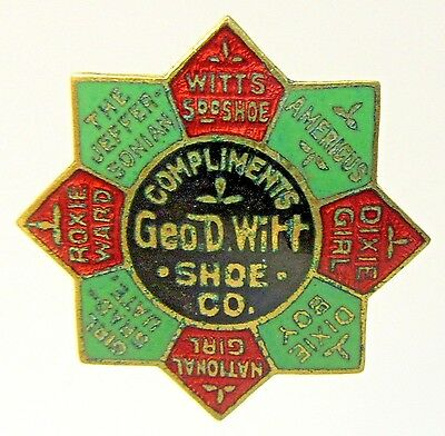 1890's GEO. D. WITT SHOE CO.  enamel inlay collar lapel stud +