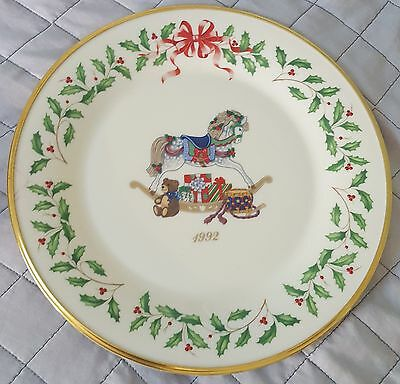 1992 Lenox Annual Holiday Collector's Plate -Rocking Horse - Second in Series