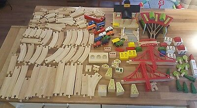 Large Job Lot Brio & ELC Compatible Wooden Train Track Set-125 Pieces!