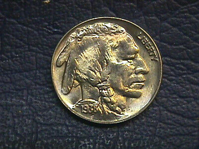 Brilliant Uncirculated 1938-D Buffalo Nickel.  Free Shipping!!