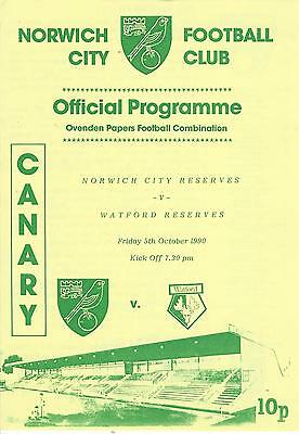 NORWICH CITY RESERVES v WATFORD 90-1 Football Combination Programme