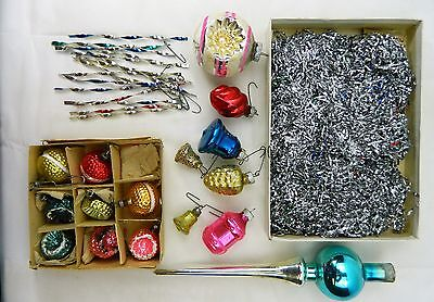 046 Estate Lot Of Antique Christmas Tree Ornaments Bulb Indent Tinsel Blown
