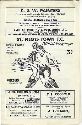"ST NEOTS TOWN v NORWICH CITY ""A"" 70-1 Eastern Counties League Cup Programme"