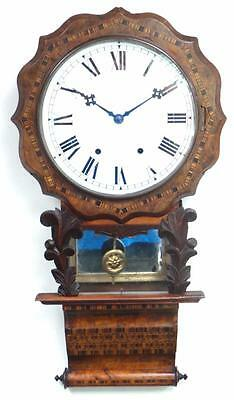 Marquetry Drop Dial Wall Clock - Anglo American 8 Day Striking Dial Wall Clock