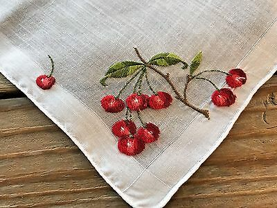 A+ Vintage White Cotton Hankie Swiss Style Embroidered Bright Red Cherries
