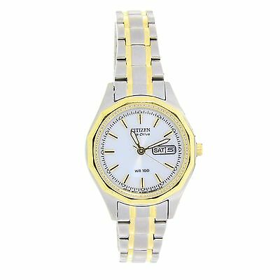 Citizen Eco Drive Women's Silver and gold Toned Stainless Steel Watch EW3144-51A