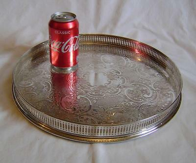 """Vintage Arthur Price Silver Plated Round Pierced Gallery Tray 14""""  wide"""