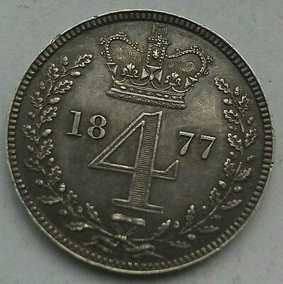 1877 QUEEN VICTORIA MAUNDY FOURPENCE. VF CONDITION.  (Ref:17)
