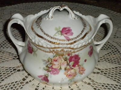 Rare Antique Wurttemberg Hand Painted Roses Biscuit or Cookie Jar