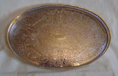 Vintage Viners Silver Plated Oval Pierced Gallery Tray engraved 25th Anniversary