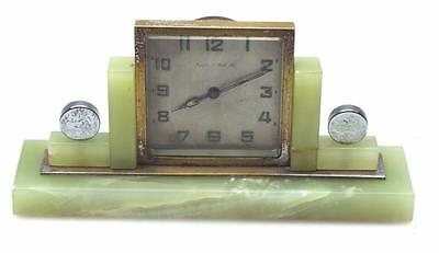 Art Deco Chrome & Green Onyx Mantel Desk Clock Retailed By Mappin & Webb London