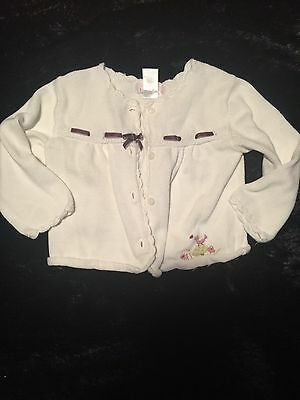 Janie And Jack Layette Infant Girl White Cardigan Sweater Button Front 12-18m
