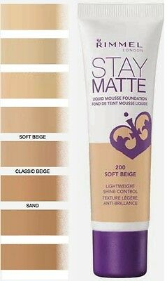 RIMMEL LONDON STAY MATTE LIQUID MOUSSE FONDOTINTA da 30ML - 3 TONALITA' DI BEIGE