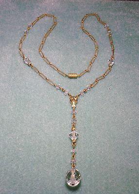 True Victorian Vintage Faceted Glass Bead Lariat Y Necklace Old Barrel Clasp