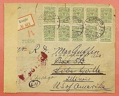1917 Finland Multi Franked Registered Cover Kuopio To Usa Wwi Censored