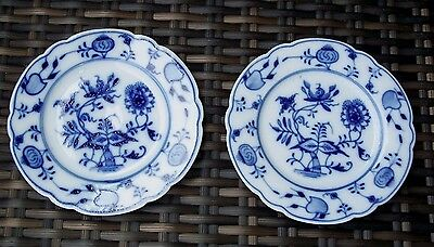 Antique Thun Karlovarsky Saucer Set-Blue Onion-Marked-Collectible-BEAUTY!