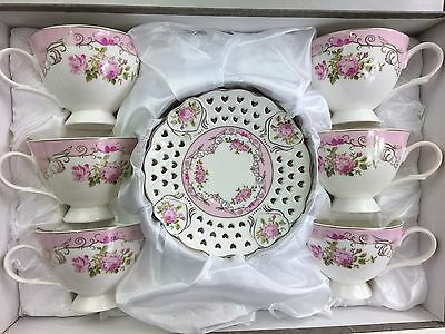 Tea/Coffee Set Of 12 Pieces Bone China White & Pink Design Gift Boxed