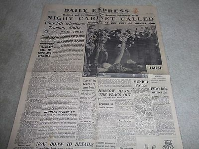 Daily Express Newspaper May 1 1945,Night Cabinet Called