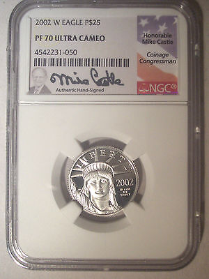 2002-W $25 Dollar PLATINUM Eagle NGC PF70 PR70 Proof UC $575+ Mike CASTLE Signed