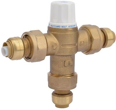 Heat Guard Mixing Valve 1/2 in. Brass 160 Thermostatic Instant Push-Fit Connect