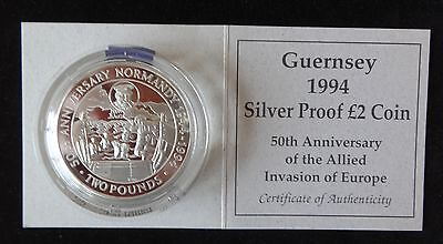 1994 SILVER PROOF GUERNSEY £2 COIN + COA 50th ALLIED INVASION OF EUROPE WW 11