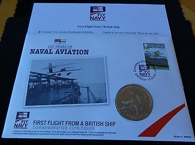 2009 B/u Guernsey £5 Coin Pnc + Coa 100 Years Of Fly Navy First Flight From Ship