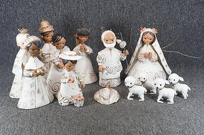 Set Of Ceramic Nativity Figures In White With Gold Trim