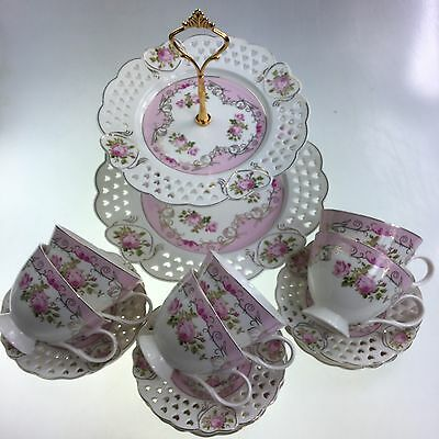 2 Tier Cake Stand & Set Of 6 Tea/Coffee Cups & Saucers White & Pink