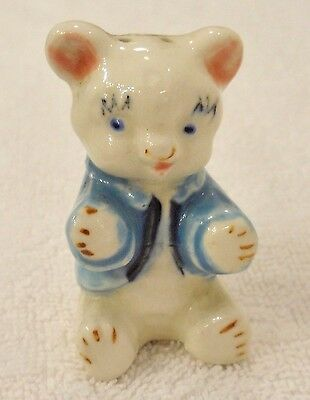 Vintage White Teddy Bear Sitting Blue Shirt Jacket Salt or Pepper Shaker Japan