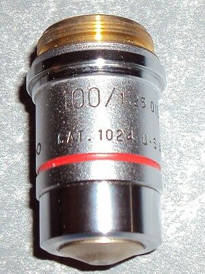 American Optical 100X # 1024 Microscope Objective 100/1.25 Oil Immersion Plan