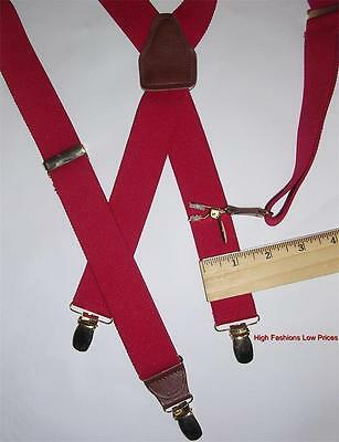 "Classic RED BRACES Mens 1¼""wide Suspenders X-BACK SHAPE Gold Clamp Brown Leather"