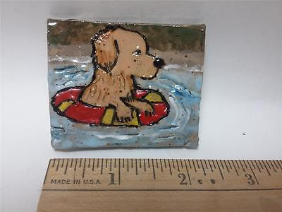 Golden Retriever Puppy Swimming Stoneware Etched Tile Pin Brooch Hand Painted