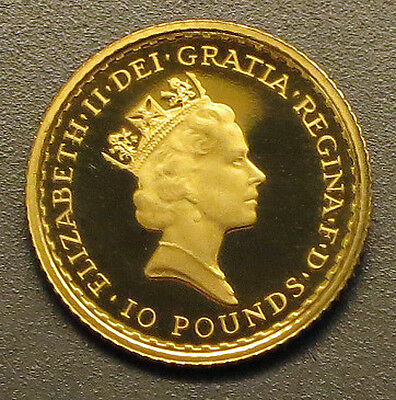 1995 GREAT BRITAIN 10 Pound PROOF GOLD COIN ENCAPSULATED + COA     KM#: 950a