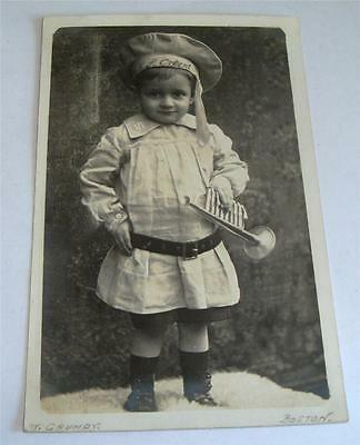 Real Photo Postcard Boy In Sailor Suit & Toy Trumpet T Grundy Boston     64