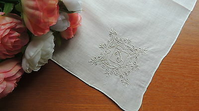 Vintage Linen Wedding Hanky Monogram J