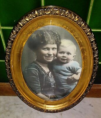Antique Picture Photo Mother & Child Gold Oval Wood Frame