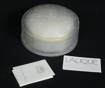 "BEAUTIFUL LALIQUE SIGNED POWDER BOX * NEW  w/ PAPERS 6.5"" x 3.5"""