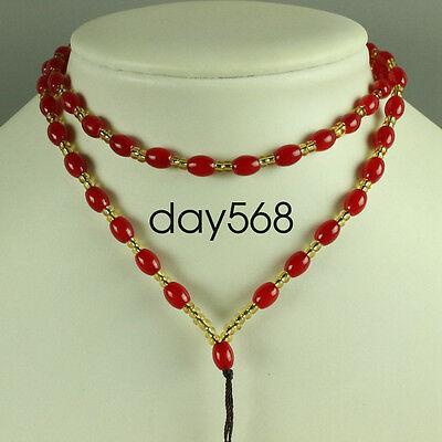 Chinese red jade necklace, pendant preparation rope
