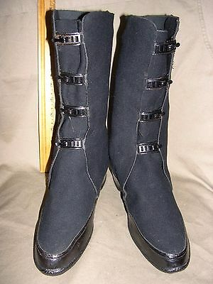 Wwii Women's Army Corps, 4 Buckle Overshoes, Cloth And Rubber, Sz 4 1/2, Mint