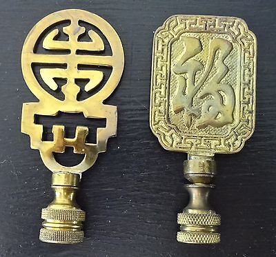 2 Antique or Vintage Chinese Brass Lamp Finials
