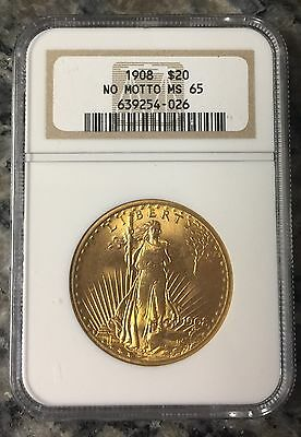 1908 St. Gaudens $20 Gold Double Eagle No Motto NGC MS65