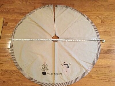 Christmas Primitive Tea-Dyed  Winter Blessings 40 inch Tree Skirt